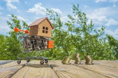 Wooden house on a shopping cart with money coins. Against the background of green trees and sky. Stock Image