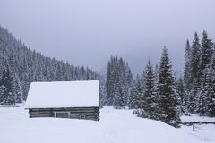 Wooden house stands on a snowy valley, a mountain in the backgro stock images