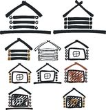 Wooden house symbol Stock Photos