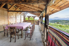 Wooden house terrace with beautiful view Royalty Free Stock Photos
