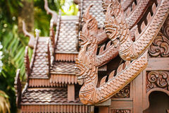 Wooden house Thai style wood carving Royalty Free Stock Image