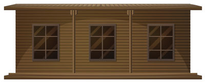 Wooden house with three windows Royalty Free Stock Photo