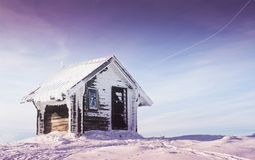 Wooden house on top of mountain Royalty Free Stock Photo