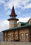 Wooden house with tower. Wooden house royalty free stock photography