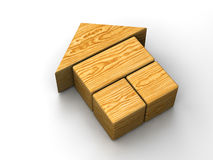 Wooden house toy. Wooden toy house on white background Stock Images