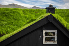 Wooden house with turf roof Royalty Free Stock Images