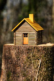 Wooden house two. Concept of an ecological house timber Royalty Free Stock Photo