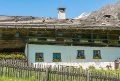 Wooden house typical in a alps village on Ridnaun Valley/Ridanna Valley - Racines country - near Sterzing/Vipiteno, South Tyrol, n royalty free stock photos