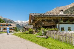Wooden house typical in a alps village on Ridnaun Valley/Ridanna Valley - Racines country - near Sterzing/Vipiteno, South Tyrol, n stock images