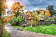 Wooden house under a big tree royalty free stock images