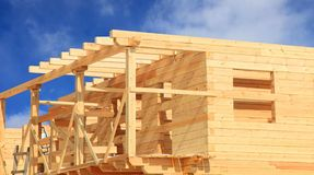 Wooden House Under Construction Royalty Free Stock Photography