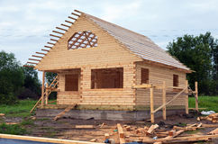 Wooden house under construction Royalty Free Stock Images