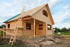 Wooden house under construction Stock Photography