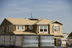 Wooden House Under Construction Royalty Free Stock Photos
