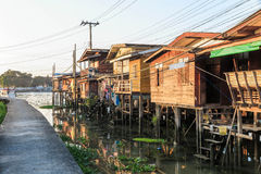 Wooden house village near the river Royalty Free Stock Images
