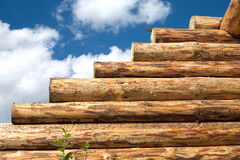 Wooden house wall construction from logs Royalty Free Stock Images