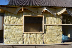 Wooden house wall with mineral  wool construction Royalty Free Stock Images