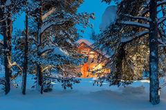 Wooden house with warm light in dark cold winter forest. Winter fairytale landscape Stock Image