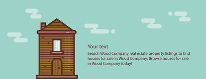 Wooden house web banner concept. Modern style illustration. Stock Photo