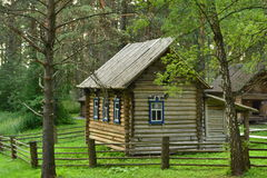 A wooden house of the West Siberian people Shors stock photo