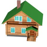 Wooden house on a white background. 3D image Stock Image