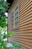 Wooden house and window. In perspective, shown as kinds of architecture and various residence environment Royalty Free Stock Photography
