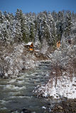 Wooden house in winter forest, mountain, river, snow covered tre Stock Images