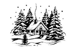 Wooden house in the winter forest. Panoramic idyllic landscape with cabin. Vector black and white sketch. Snow landscape with house stock illustration