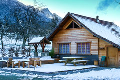 Wooden house in the winter Royalty Free Stock Photos