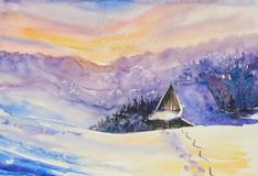 Winter landscape watercolors painted Stock Images