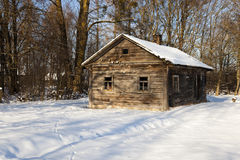 Wooden house . winter Royalty Free Stock Photography