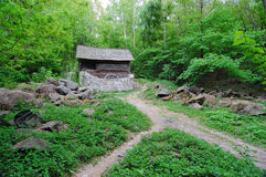 The wooden house in the wood. In the summer Stock Photo
