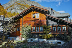 Wooden house in Zermatt Resort, Canton of Valais Stock Photos