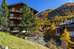 Wooden house in Zermatt Resort, Valais, Switzerland Royalty Free Stock Images