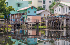 Wooden houses along the canals in Thailand Royalty Free Stock Photography