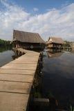 Wooden houses along the river, Kanchanaburi, Thailand Stock Photo