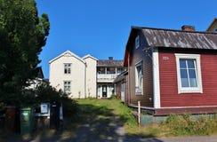 Wooden houses. Along a street in Svartöstan in Lule Stock Photography