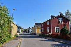 Wooden houses. Along a street in Svartöstan in Lule Royalty Free Stock Image