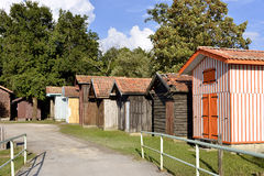 Wooden houses at Biganos in France Stock Photos