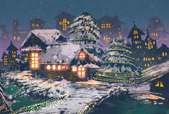 Wooden houses with a christmas lights. Christmas night scene of wooden houses with a christmas lights,illustration painting