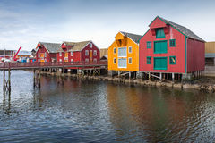 Wooden houses in coastal Norwegian village Royalty Free Stock Images