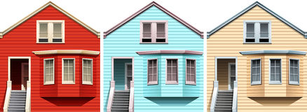 Wooden houses in different colors Royalty Free Stock Image