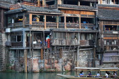 Wooden houses at fenghuang ancient town Royalty Free Stock Image