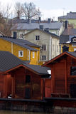 Wooden houses in Finland. Old restaurated wooden houses in Porvoo, Finland Royalty Free Stock Photo
