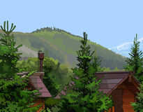 Wooden houses in the firs mountains in the background Stock Photo