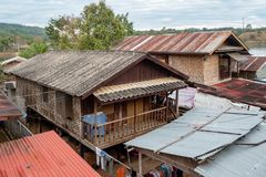 Wooden houses in fishing villages in rural areas royalty free stock photography