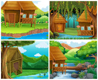 Wooden houses in forest royalty free illustration