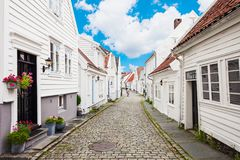 Wooden houses, Gamle Stavanger. Traditional wooden houses in Gamle Stavanger. Gamle Stavanger is a historic area of the city of Stavanger in Rogaland, Norway Stock Photo