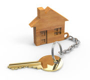 Wooden houses. Golden key with wooden houses Stock Images