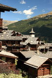 Wooden houses in Grimentz Royalty Free Stock Photography